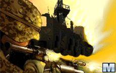 Disparando a la fortaleza con armas tipo francotirador o bombas