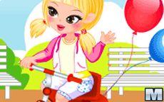 viste al bebé en su triciclo