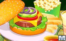 Cocina una hamburguesa - corta los ingredientes