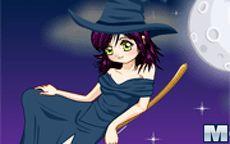 Viste a la pequeña bruja en halloween