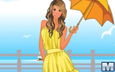 Vestir a esta chica en la orilla del mar